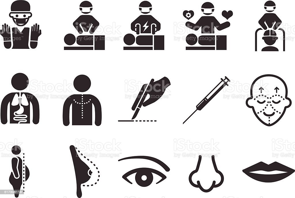 Plastic surgery icons vector art illustration