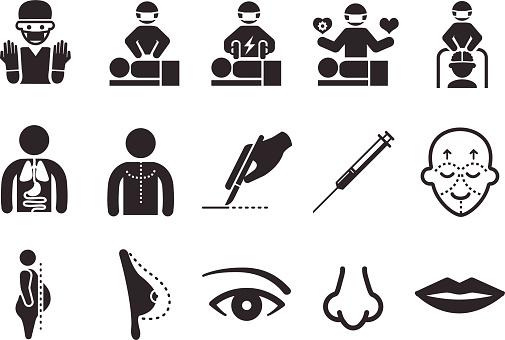Plastic Surgery Icons向量圖形及更多乳房圖片