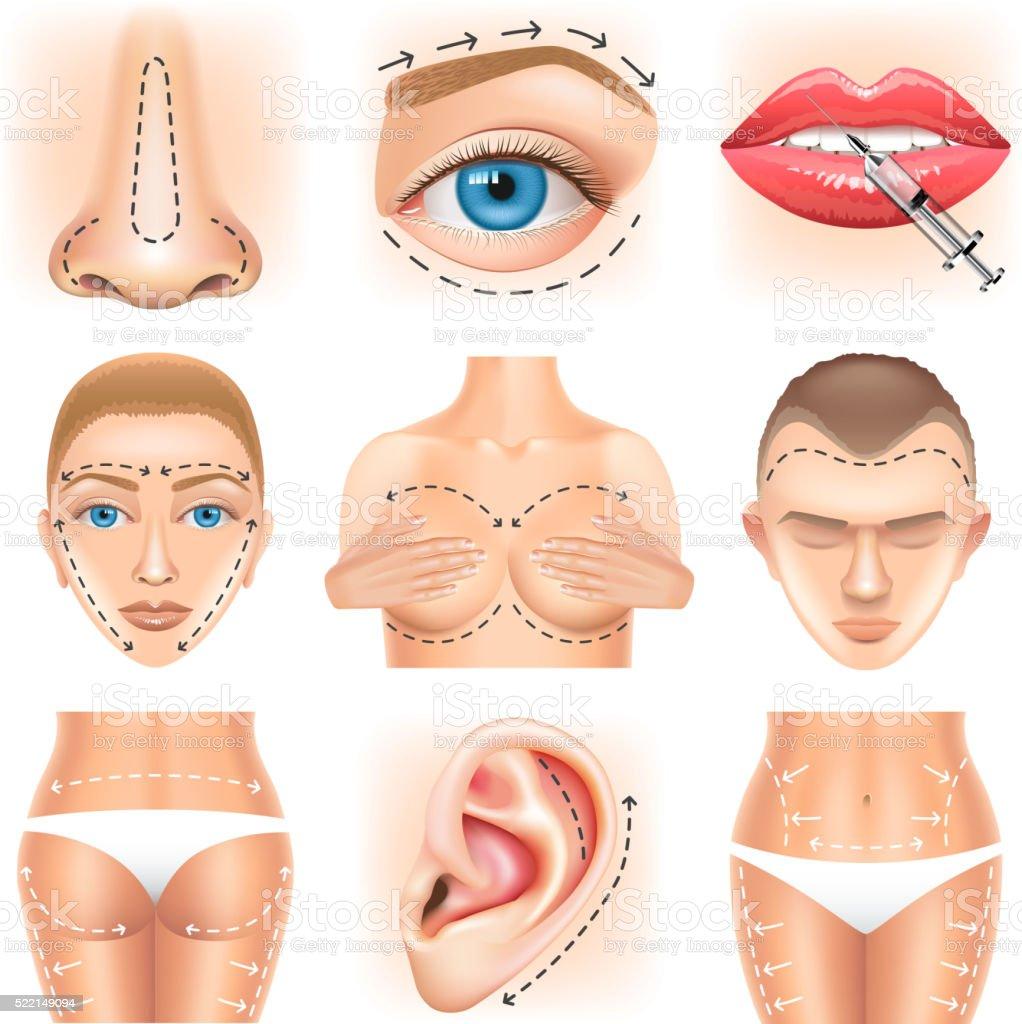 Plastic surgery icons vector set vector art illustration