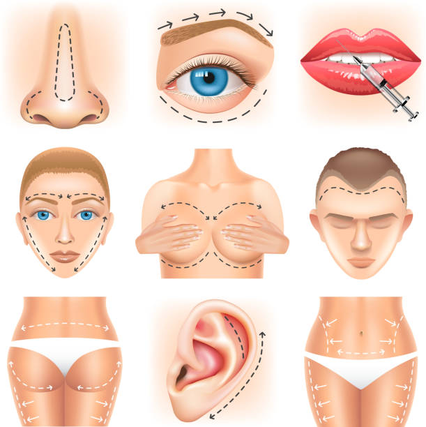Plastic surgery icons vector set vector art illustration