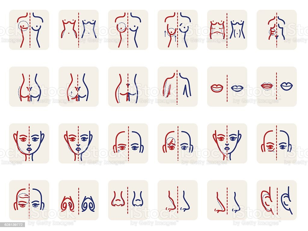 Plastic surgery line icons set. Medical illustration vector art illustration
