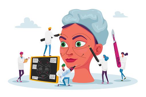Plastic Surgery Medicine, Correction Procedure, Surgical Improvement Concept. Surgeons Correcting Form of Woman Face