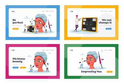 Plastic Surgery Medicine, Surgical Correction Procedure Landing Page Template Set. Surgeons Correcting Woman Face Form
