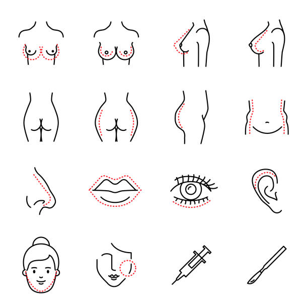 Plastic surgery vector icons set line style Plastic surgery vector icons set line style breast stock illustrations