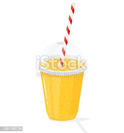 istock Plastic transparent cups for smoothie with striped pipe. Fresh lemonade, orange juice or smoothie in a plastic cup, vector flat cartoon style 1331763726
