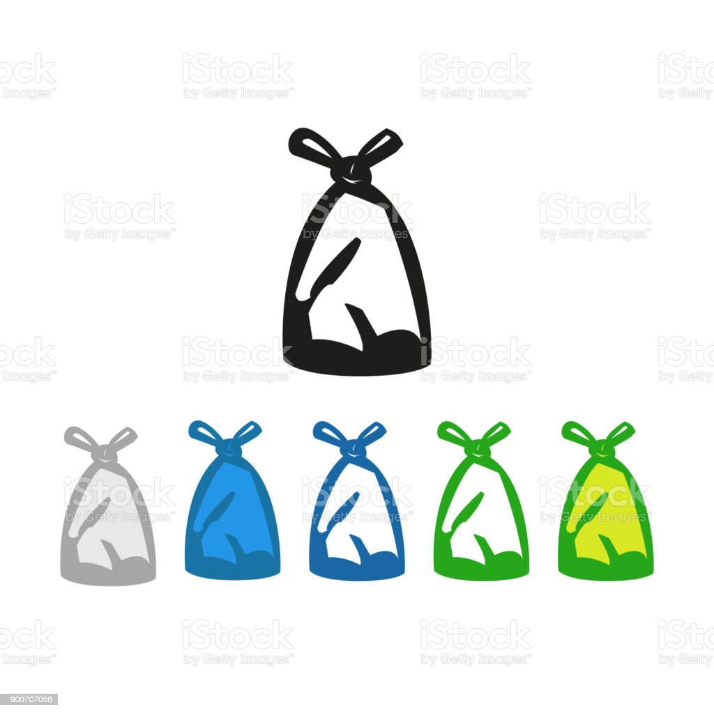 Plastic Trash bag icon vector art illustration