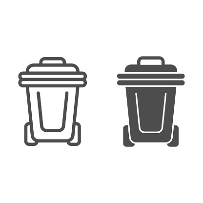Plastic trash can line and solid icon, Cleaning service concept, plastic dust bin sign on white background, recycle garbage can icon in outline style for mobile concept, web design. Vector graphics.