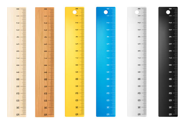 Plastic vector rulers Colored plastic and wooden rulers. Vector objects ruler stock illustrations