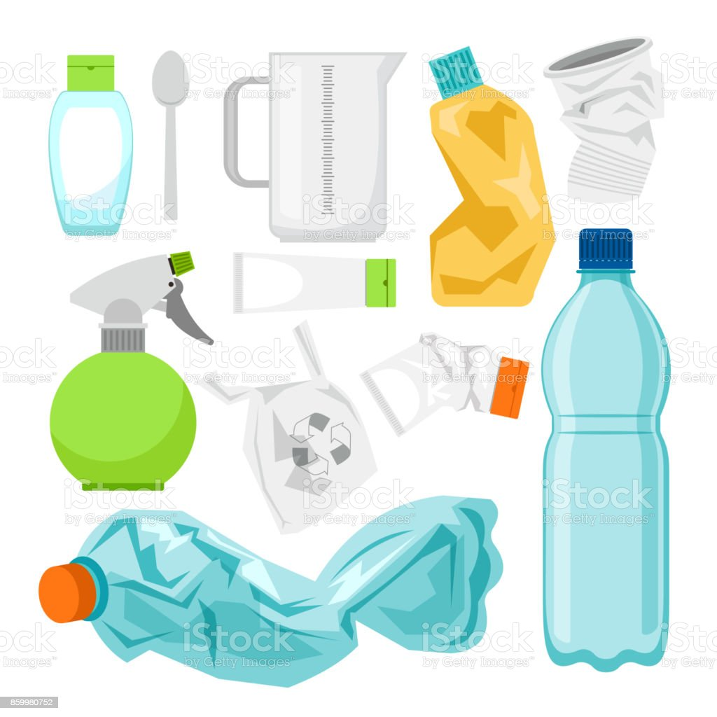 Plastic waste collection on white. Plastic bottles and another garbage, non-recyclable trash vector art illustration