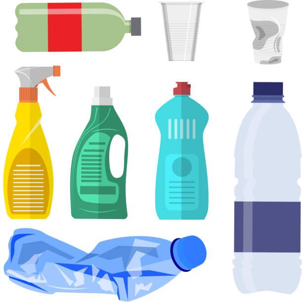 흰색 플라스틱 폐기물 수집입니다. - 플라스틱 stock illustrations