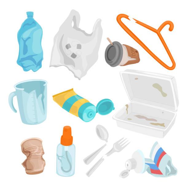 illustrations, cliparts, dessins animés et icônes de ensemble de déchets plastiques, concept de pollution et d'environnement - dechets