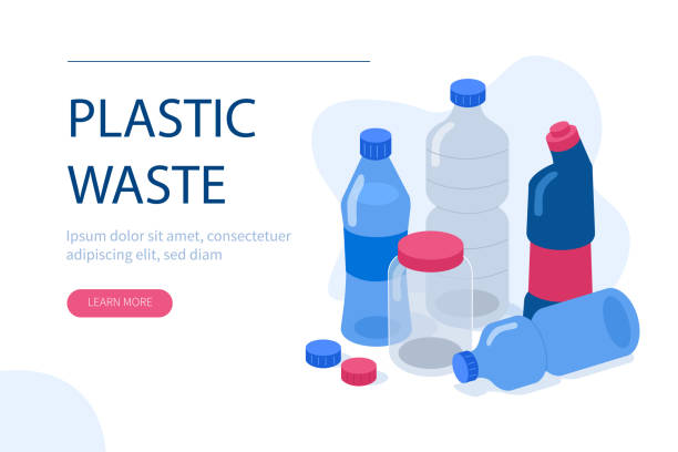 plastic waste Plastic pollution concept. Can use for backgrounds, infographics, hero images. Flat style modern vector illustration. plastic stock illustrations