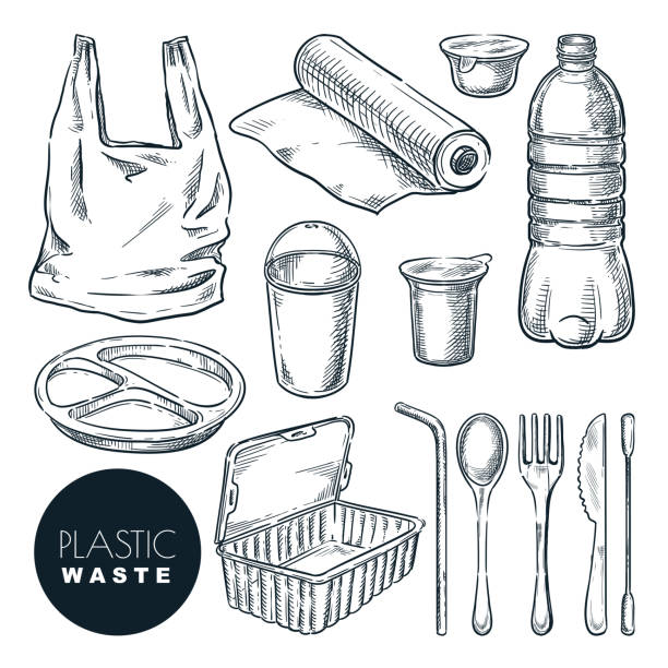 Plastic waste, vector sketch illustration. Hand drawn garbage and trash items. Nonrecyclable material and goods icons Plastic waste, vector sketch illustration. Hand drawn garbage and trash items, isolated on white background. Nonrecyclable material and goods icons set. Plastic pollution of environment concept. plastic pollution stock illustrations