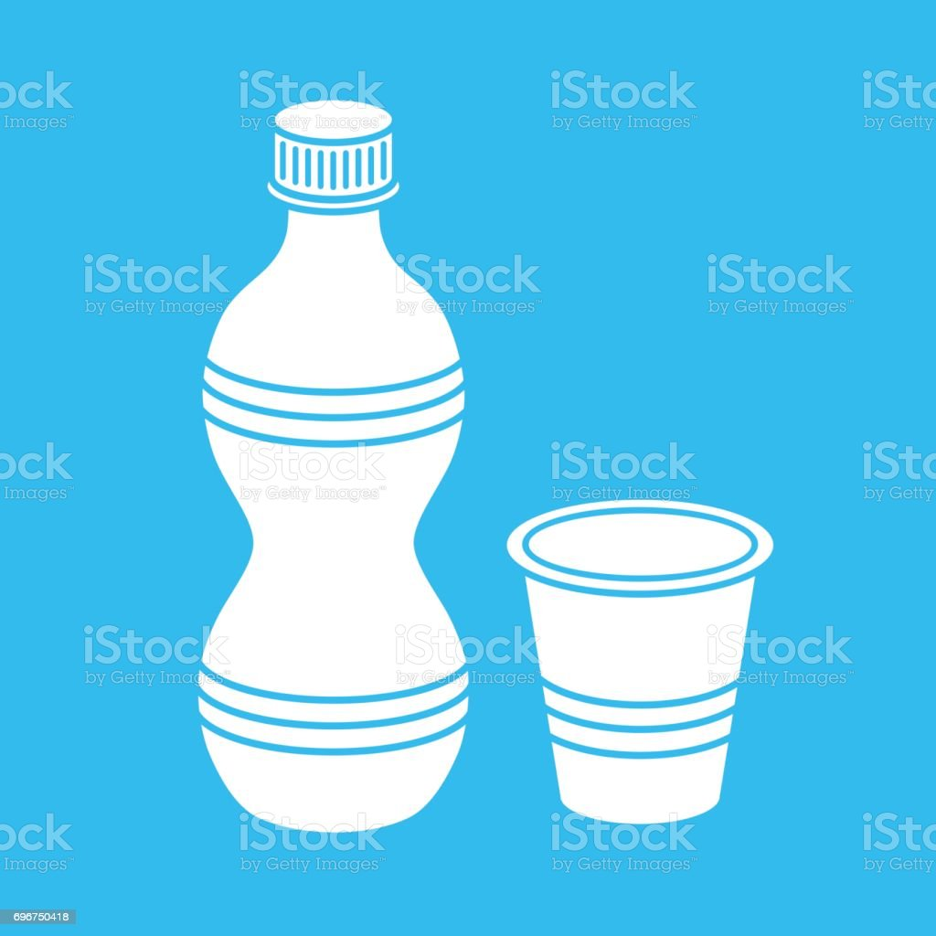 Plastic water bottle and a cup vector art illustration