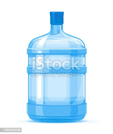 Five gallon big plastic water bottle container quality illustration standing on white background, water delivery service of fresh purified water