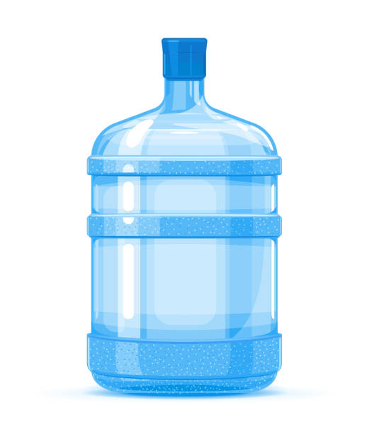 Plastic water bottle container Five gallon big plastic water bottle container quality illustration standing on white background, water delivery service of fresh purified water volume fluid capacity stock illustrations