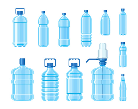 Plastic water bottle set containers of different capacities