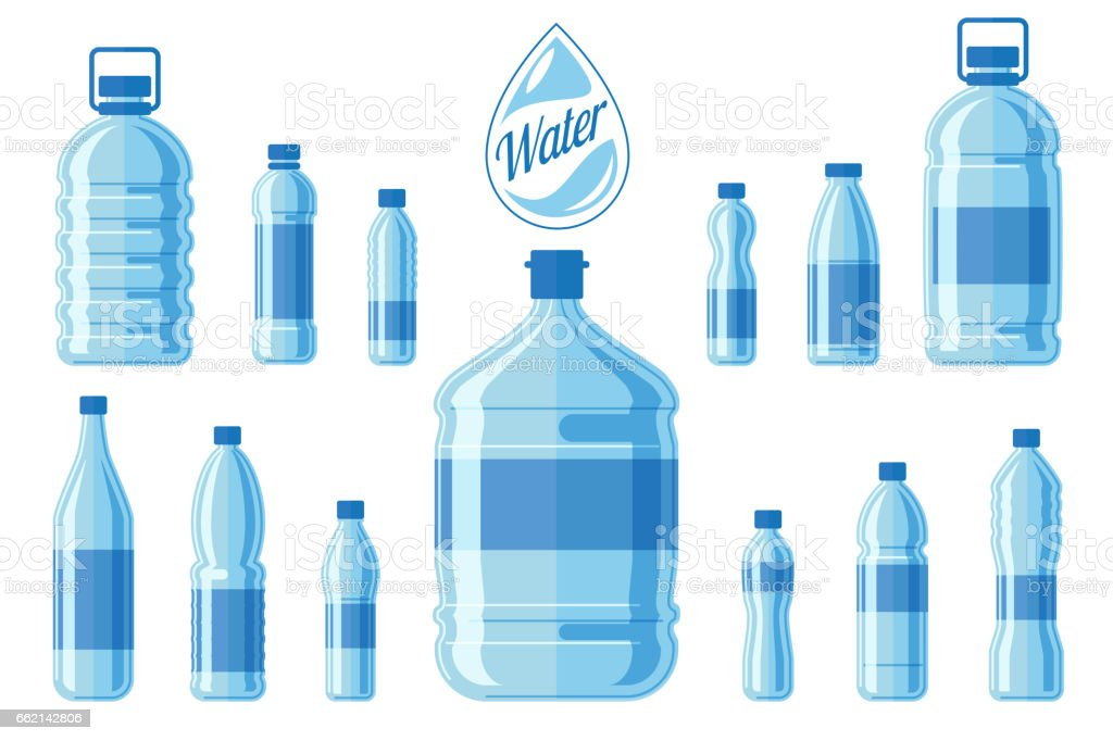 Plastic water bottle set isolated on white background. Healthy agua bottles vector illustration vector art illustration