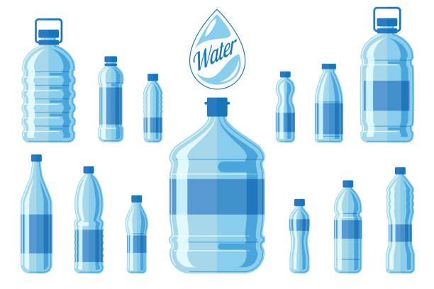 Plastic water bottle set isolated on white background. Healthy agua bottles vector illustration Plastic water bottle set isolated on white background. Healthy agua bottles vector illustration. Clean drink in plastic container bottle stock illustrations