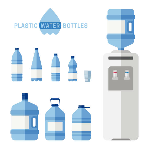 Plastic water bottles with cooler flat icons Plastic water bottles with cooler flat icons. Simple illustration with plastic cooler for water and different bottles. volume fluid capacity stock illustrations