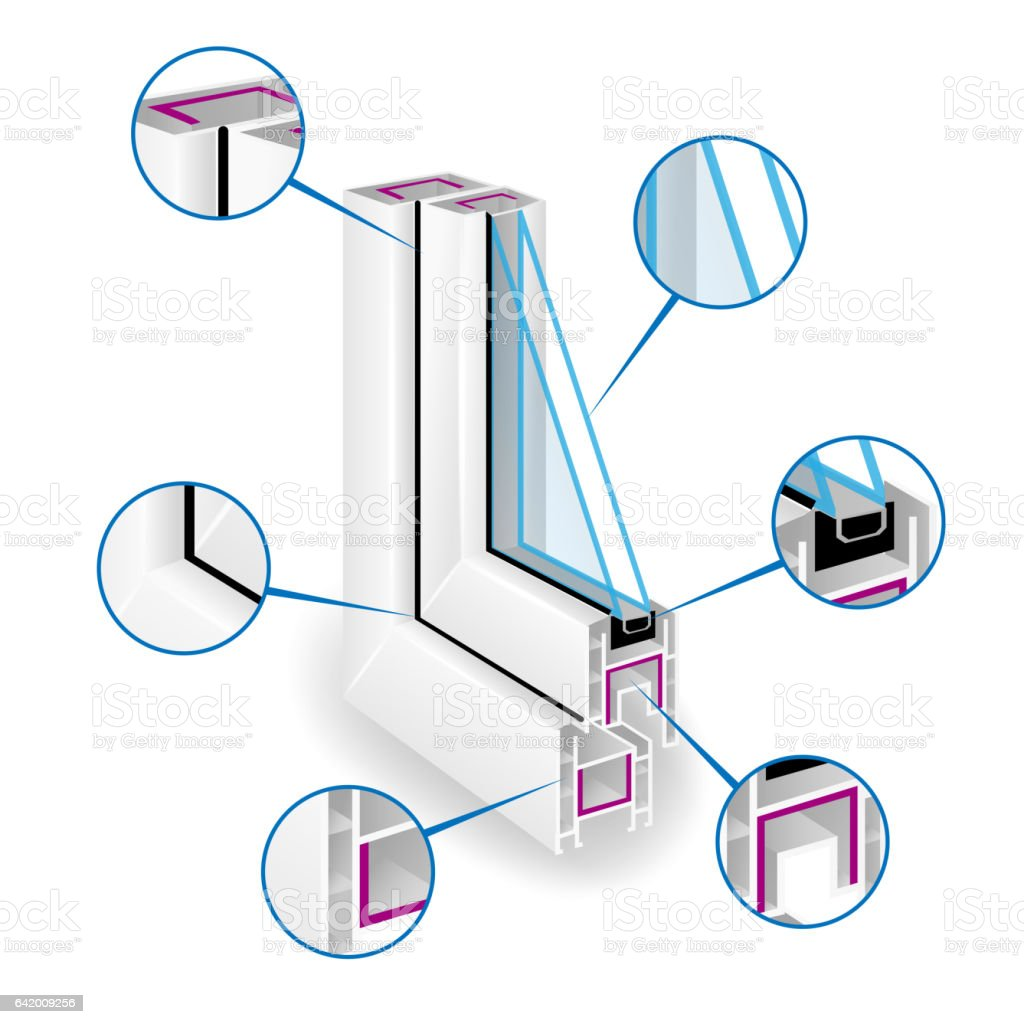 Plastic Window Frame Profile. Infographic Templeate. Vector Illustration Of Structure vector art illustration
