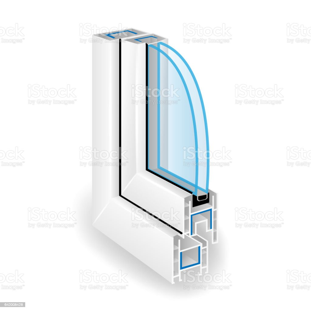 Plastic Window Frame Profile. Two Transparent Glass. Vector Illustration Of Structure vector art illustration