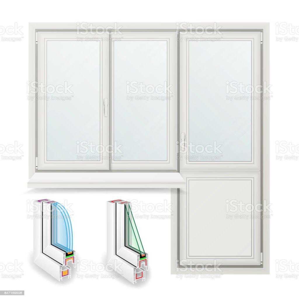 Plastic Window Vector. Opened Door. Home White Window Design Concept. Isolated On White Background Illustration vector art illustration