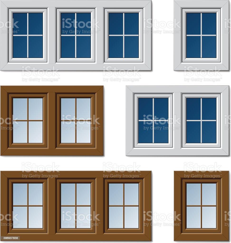 plastic windows white brown vector art illustration