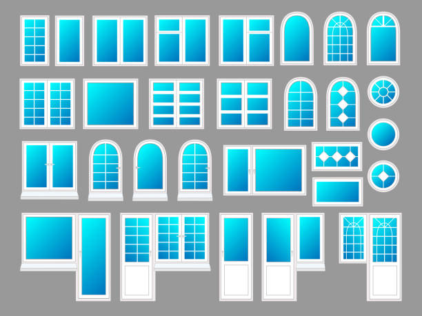Plastic windows with doors, vector illustration set Plastic windows with doors, vector illustration set porch stock illustrations