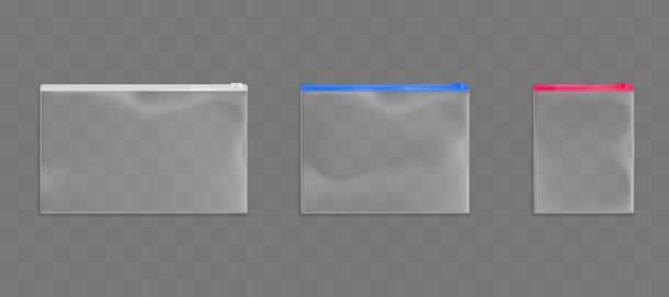 Kunststoff-Reißverschluss-Taschen leere Beutel Pakete mock verärgert – Vektorgrafik