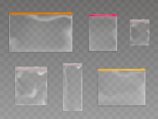 Kunststoff-Reißverschluss-Taschen leere Beutel Pakete Mockup Set – Vektorgrafik