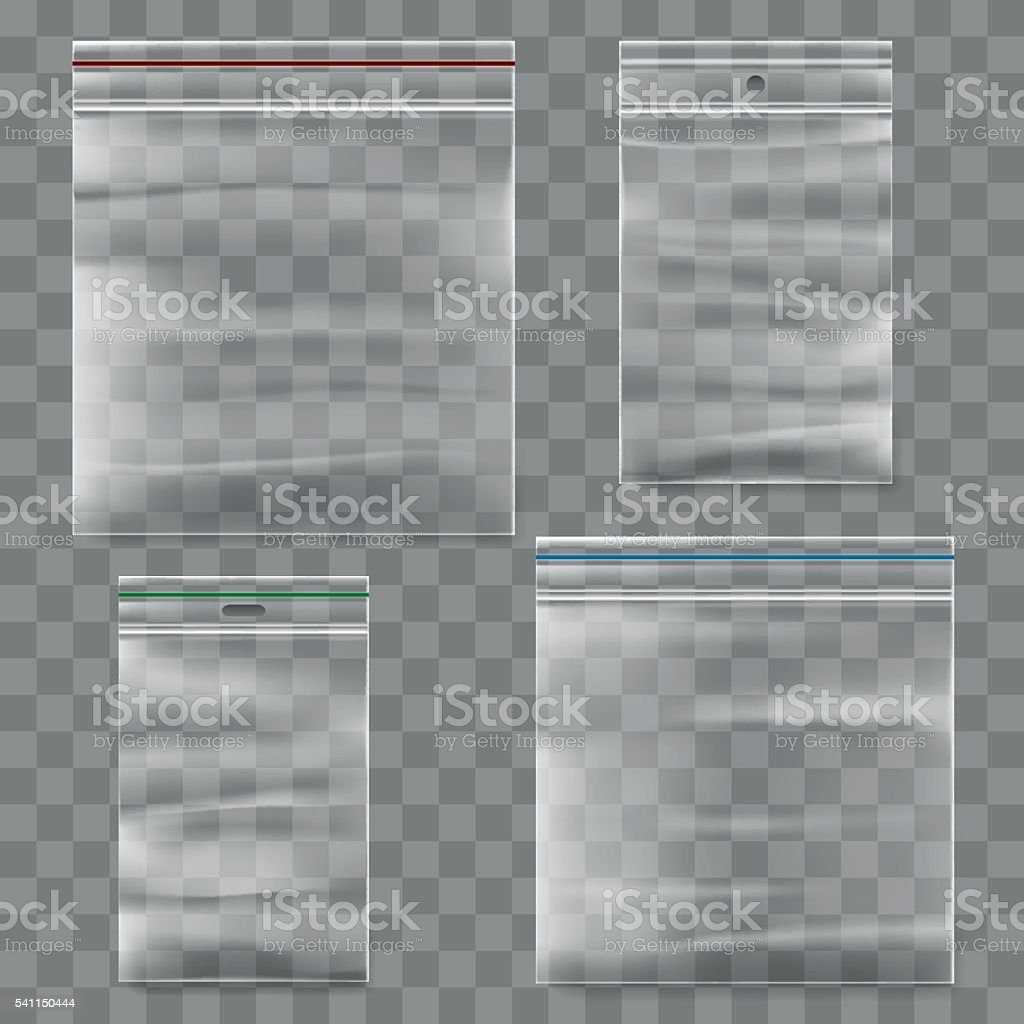 Plastic zipper bag vector template vector art illustration