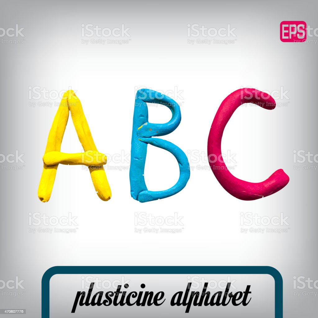 Plasticine alphabet on a background. vector art illustration