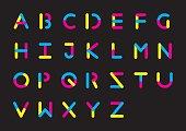 Plasticine alphabet. Rounded font. Vintage type