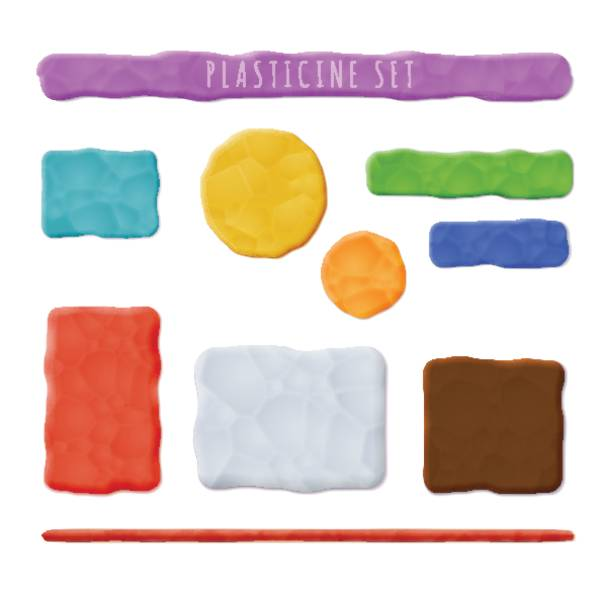 Plasticine Clay Banners Vector Photo Realistic Plasticine Clay Banners Set. Quality Close Up View clay stock illustrations