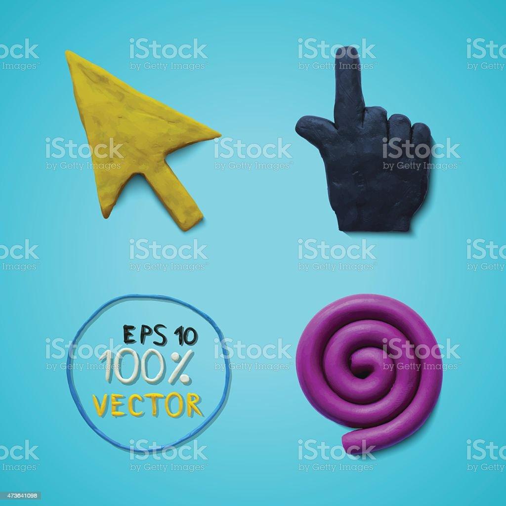 Plasticine colored cursors vector art illustration