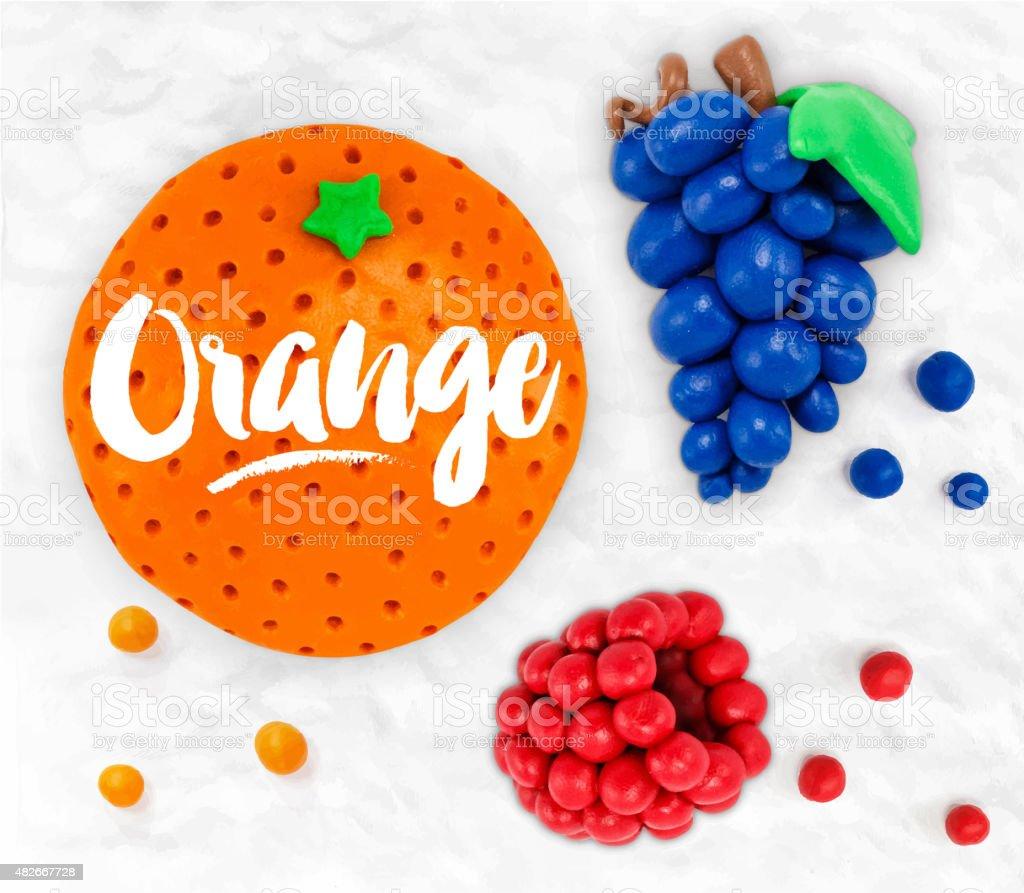 Plasticine fruits orange vector art illustration