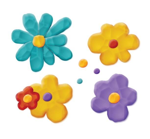 plastełanie ręcznie robione kwiaty - glina stock illustrations