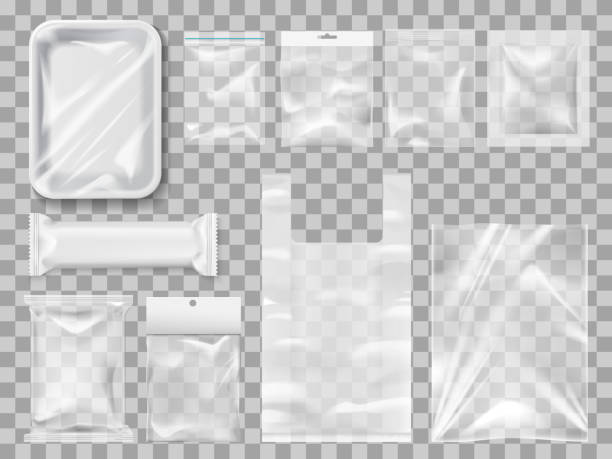 Plastick package, packs and containers. Vector Empty packs, plastic package and vacuum containers mockups for food. Transparent disposable clean packages for meat and chocolate bar, spices and pastry. Transparent packets to carry and keep goods plastic stock illustrations