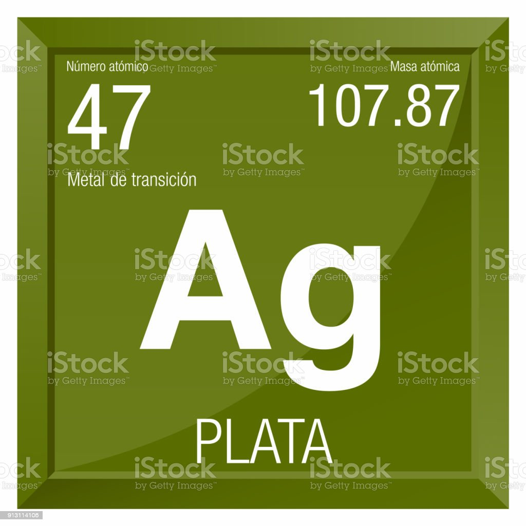 Plata Symbol Silver In Spanish Language Element Number 47 Of The
