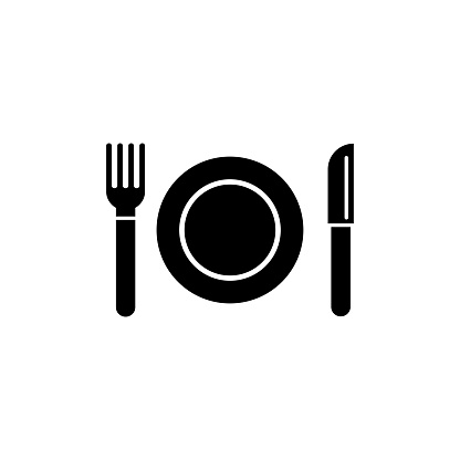 Plate and Cutlery, Fork, Knife Flat Vector Icon