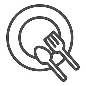 Plate and cutlery line icon. Dinner place with spoon and fork outline style pictogram on white background. Empty restaurant dish for lunch for mobile concept and web design. Vector graphics