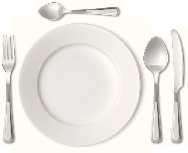 stockillustraties, clipart, cartoons en iconen met plate and cutlery - gedekte tafel
