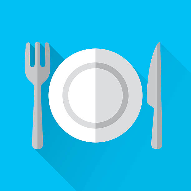 stockillustraties, clipart, cartoons en iconen met plate and cutlery - breakfast table