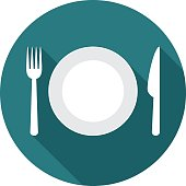 Plate circle icon with long shadow. Flat design style. Plate simple silhouette. Modern, minimalist, round icon in stylish colors. Web site page and mobile app design vector element.
