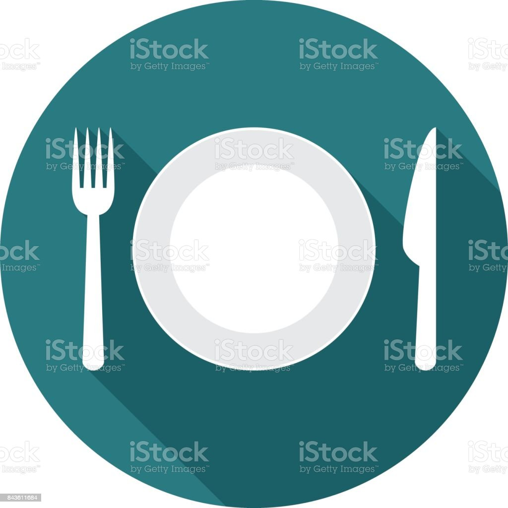 Plate circle icon with long shadow. Flat design style. vector art illustration