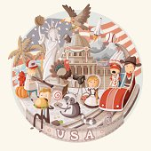 Plate design with items from USA. EPS10