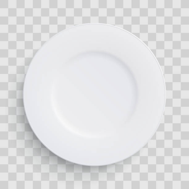 Plate dish 3D white round isolated on transparent background. Vector realistic porcelain flat empty plate or disposable plastic or paper kitchenware Plate dish 3D white round isolated on transparent background. Vector realistic porcelain flat empty plate or disposable plastic or paper kitchenware serving dish stock illustrations