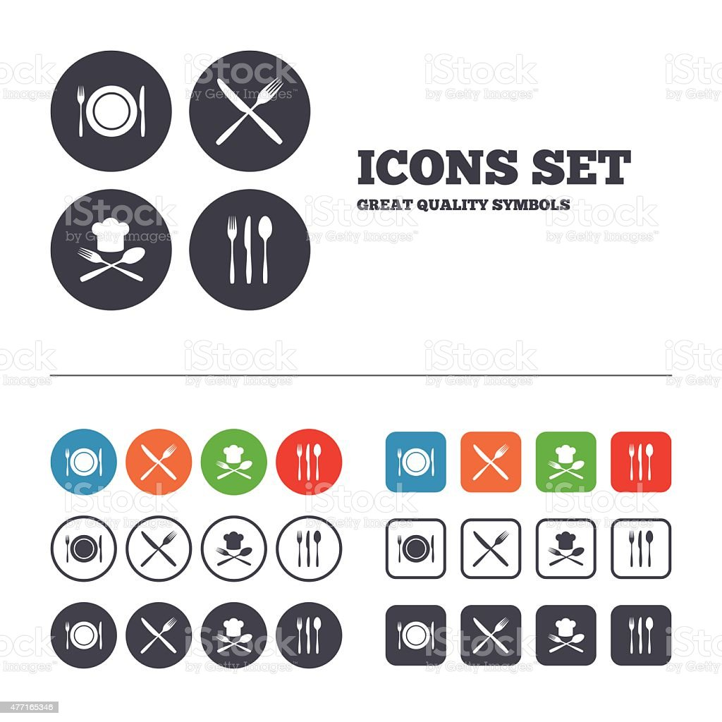 Plate dish with forks and knifes icon. Chief hat vector art illustration