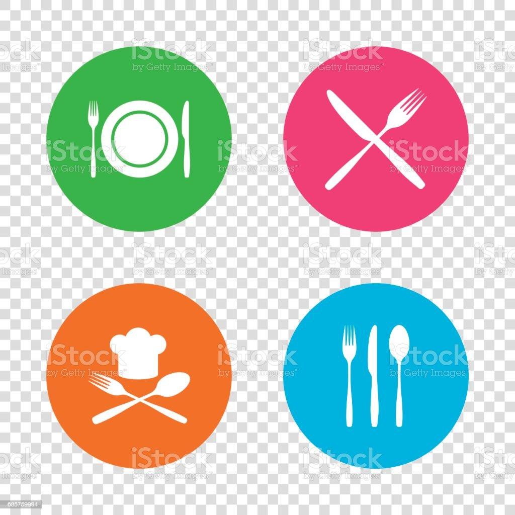 Plaat schotel met vorken en messen pictogram. De hoed van het hoofd. royalty free plaat schotel met vorken en messen pictogram de hoed van het hoofd stockvectorkunst en meer beelden van achtergrond - thema
